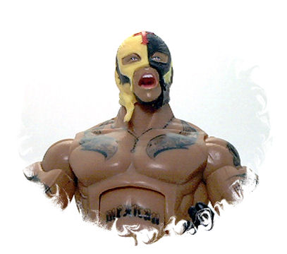 Rey Mysterio is molded out of flesh colored plastic for arms and torso,